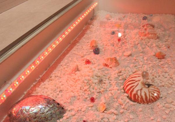 東松山ラブホテル バリタイ 216号室 床面ガラス、砂浜